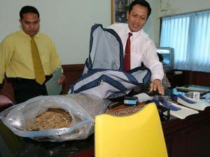 Bukti 4.1kg marijuana (ganja) disita dari bagasi Corby oleh petugas Bandara Ngurah Ray  2004 - The Australian