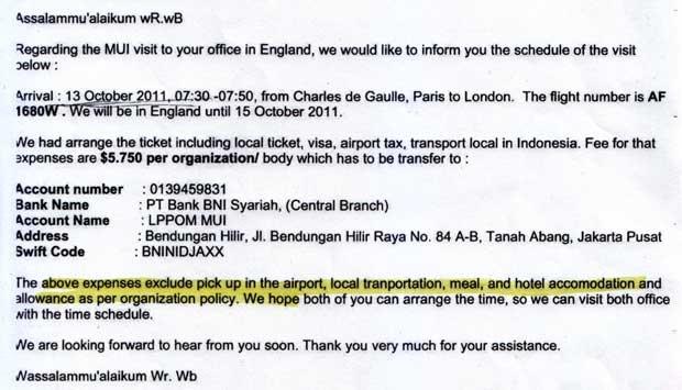 Surat permintaan biaya akomodasi dari LPPOM MUI kepada Halal Food Authority saat berkunjung ke London, Inggris. Istimewa - TEMPO
