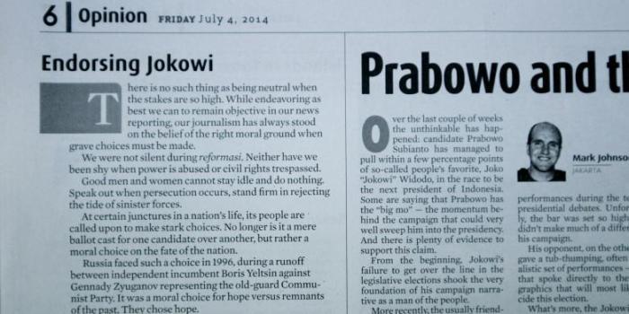Tulisan Editorial yang menyatakan harian Jakarta Post mendukung Jokowi