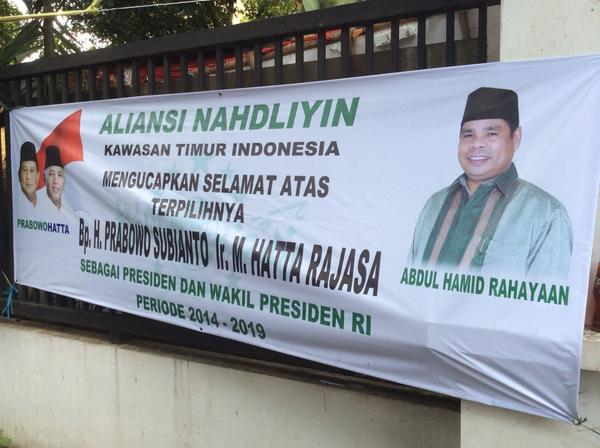 """""""Scenes frm Prabowo camp's HQ at Rumah Polonia. A congratulatory banner for Prabowo-Hatta tho clearly Jokowi has won @ZubNaz"""
