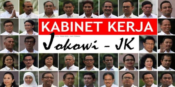Menteri-menteri Kabinet Kerja yang dipilih Presiden Joko Widodo dan Wakil Presiden Jusuf Kalla di Istana Negara, Minggu (26/10/2014). TRIBUN NEWS / DANY PERMANA - KOMPAS